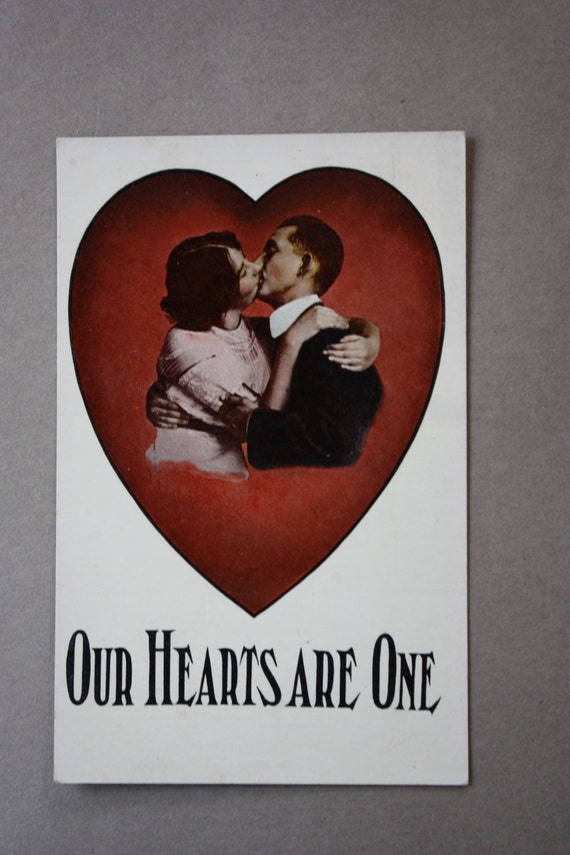 "Antique, Winsch Back, ""Our Hearts Are One,"" Valentine's Postcard with Kissing Couple"