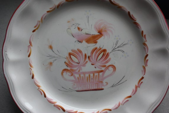 St. Clement of France Hand Painted Rooster Plate, Circa 1970s