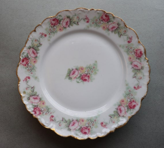 Antique, Limoges, Shabby Chic, French Salad Plates with Roses Decor