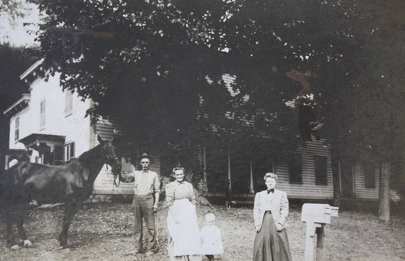 1800s Antique Photograph of People with Horse in Front of a House