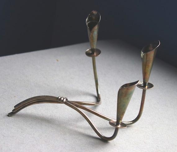 Hans Jensen Calla Lily Mid-Century Modern Silver Plate Candleholder