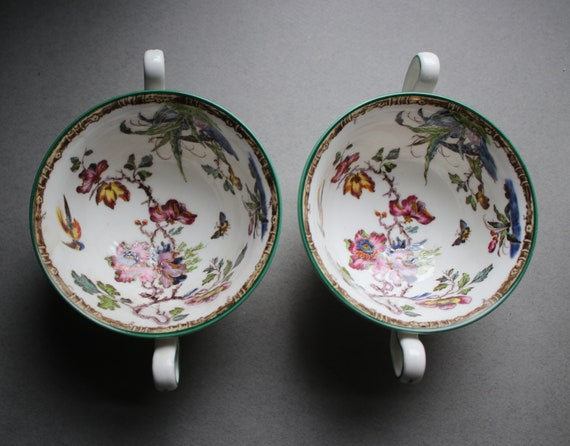 Wedgwood Bouillon Cups in Swallow Pattern