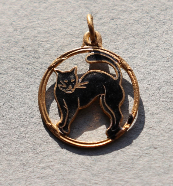 French, Vintage, Enameled Black Cat Charm from Mt St Michel