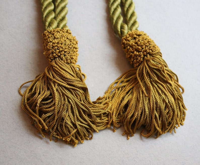Silk Rope Curtain Tieback Tassels in Green and Gold