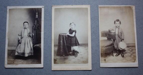 Cartes de Visite of 1800s Era Children by Benjamin Lochman and W.H.S. Gross of Allentown, PA