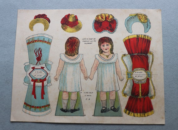 Antique, French, Uncut Paper Doll Sheet