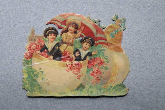 Antique, French, Easter Chromolithograph