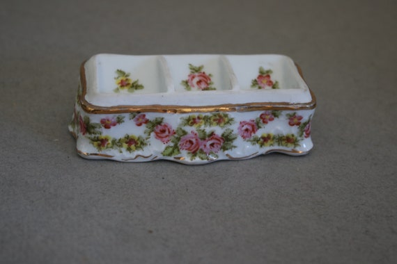 Hand Painted Austrian Porcelain Stamp Holder