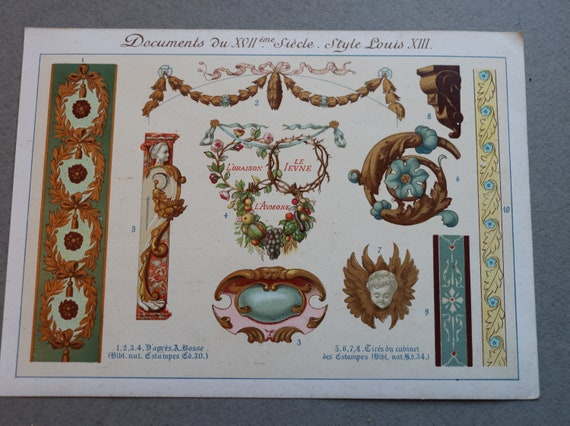 19th Century French Chromolithograph Featuring Style Motifs of Louis XIII