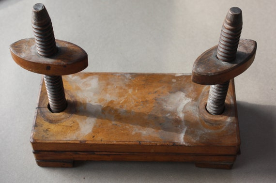 Antique Wooden Playing Card Press with Deck of S.D. Modiano Cards