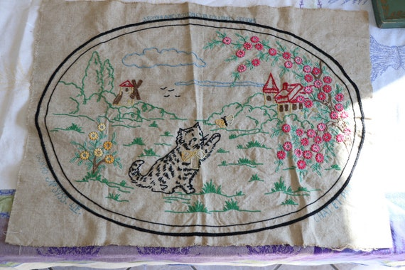 Vintage French Embroidery with Cat