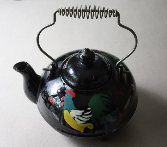 Redware Teapot with Painted Chicken and Wire Handle