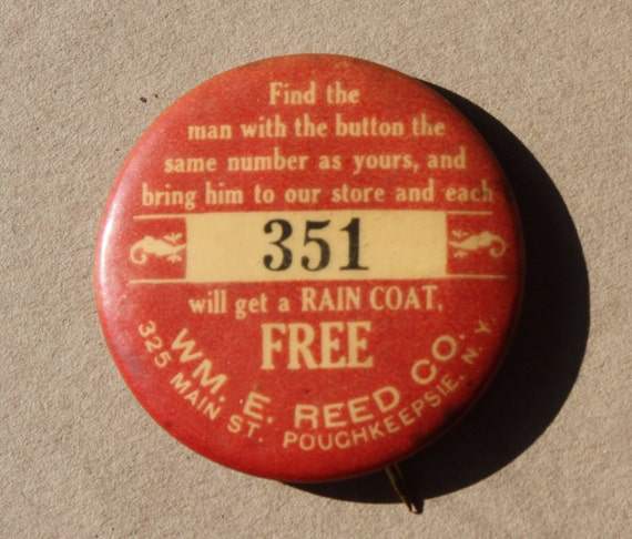 Antique, Hatter, William E. Reed Company, Advertising, Pin Back Button