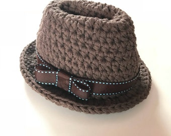 1b12be07840 ... real newborn indiana jones inspired fedora hat made to order crochet fedora  hats for infants and