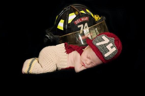 887a698a0f4 Crochet Newborn Firefighter Photo Prop Set for Infant Baby