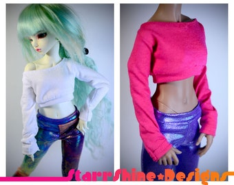BJD MSD 1/4 Doll clothing - Long-Sleeve Crop Top - Your Choice of 20 Colors