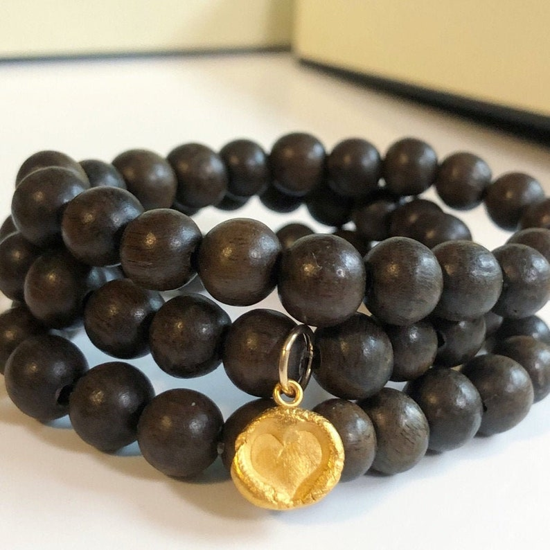 Wood Beads Stack Bracelet Set of 3 with Gold Heart Charm  image 0