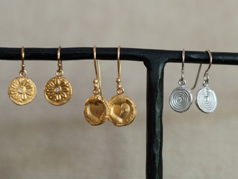 Hanging Earrings in Silver or Gold Light Natural Designs image 0