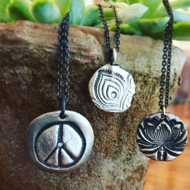 New Beginnings Charm Necklace in Silver or Gold Namaste Yogi image 0