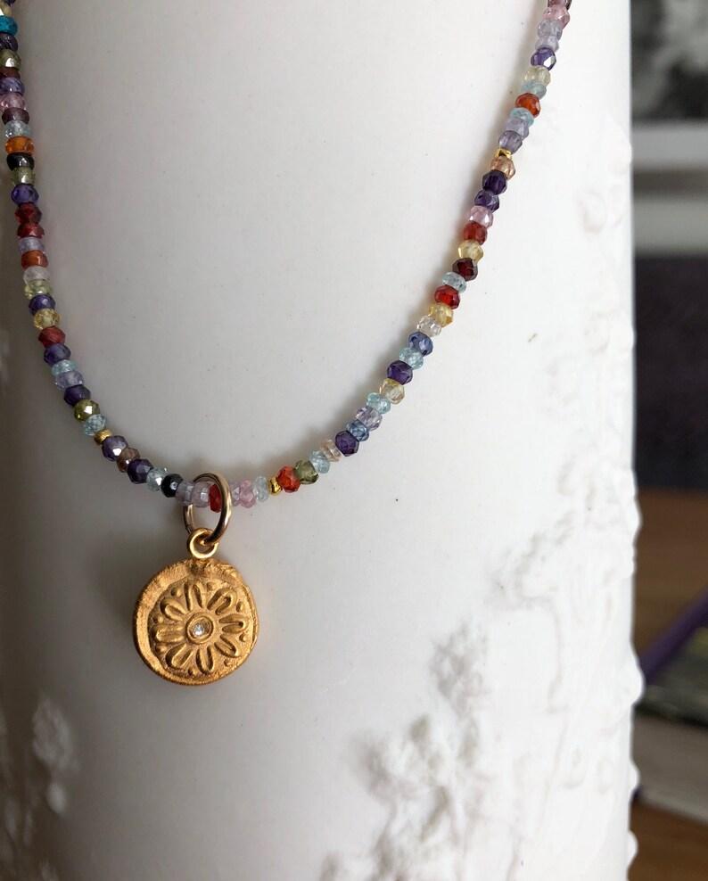 Multi colored stones necklace Rainbow Necklace Bright Quartz image 0