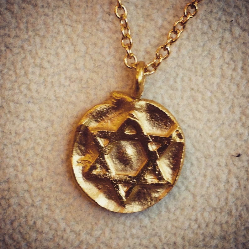Star of David Charm Necklace in Gold Silver Magen David image 0