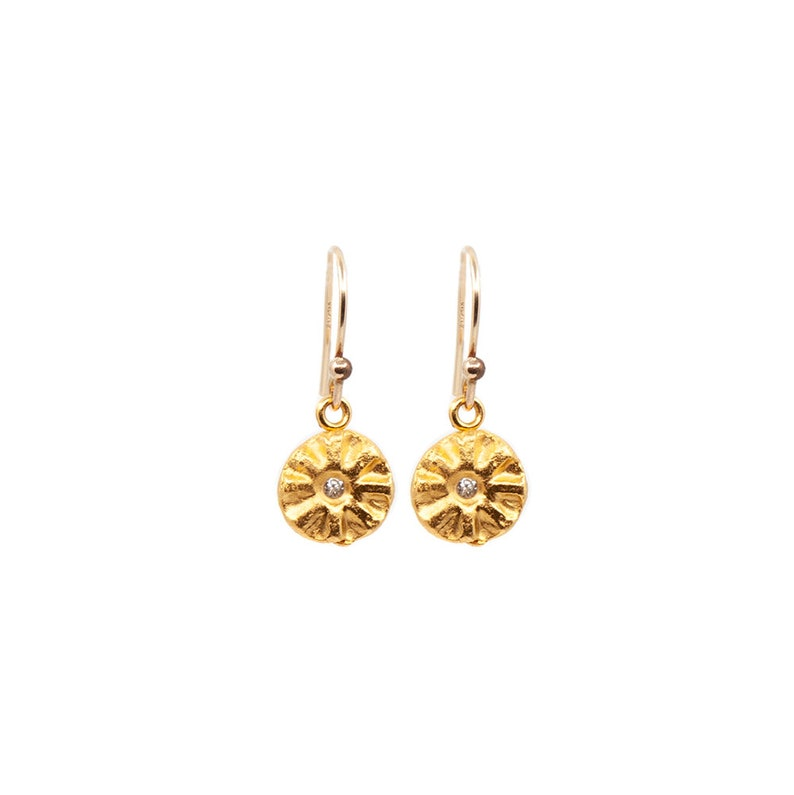 Hanging Sparks of Joy Earrings in Silver or Gold Light image 0