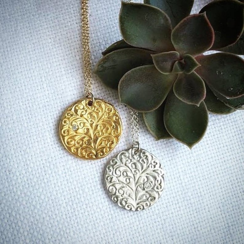 Tree of Life Necklace Gold Silver Jewish Jewelry image 0