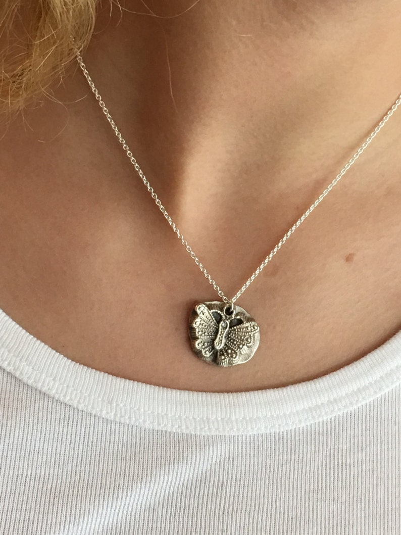 Butterfly Charm Necklace Silver Animal Jewelry Memory image 0