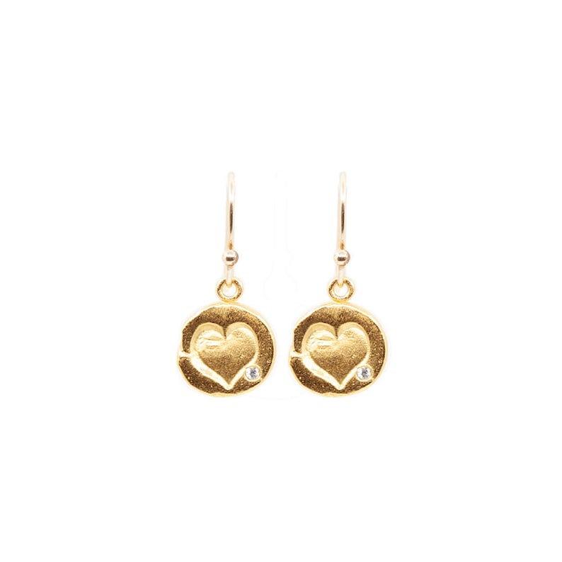 Hanging Heart Earrings in Silver or Gold Light Natural image 0