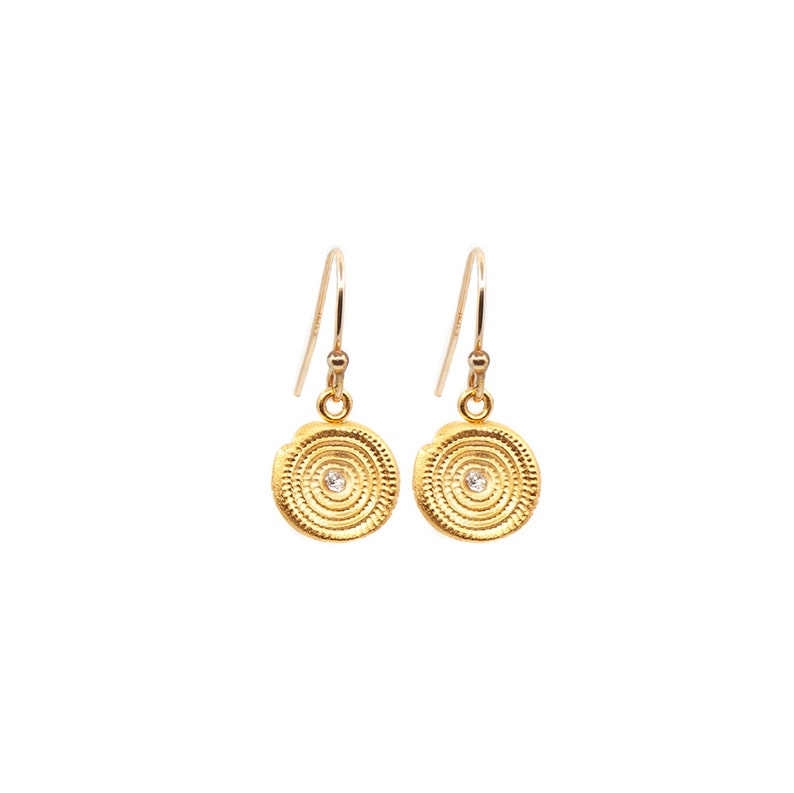 Hanging Zen Circles Earrings in Silver or Gold Light Natural image 0