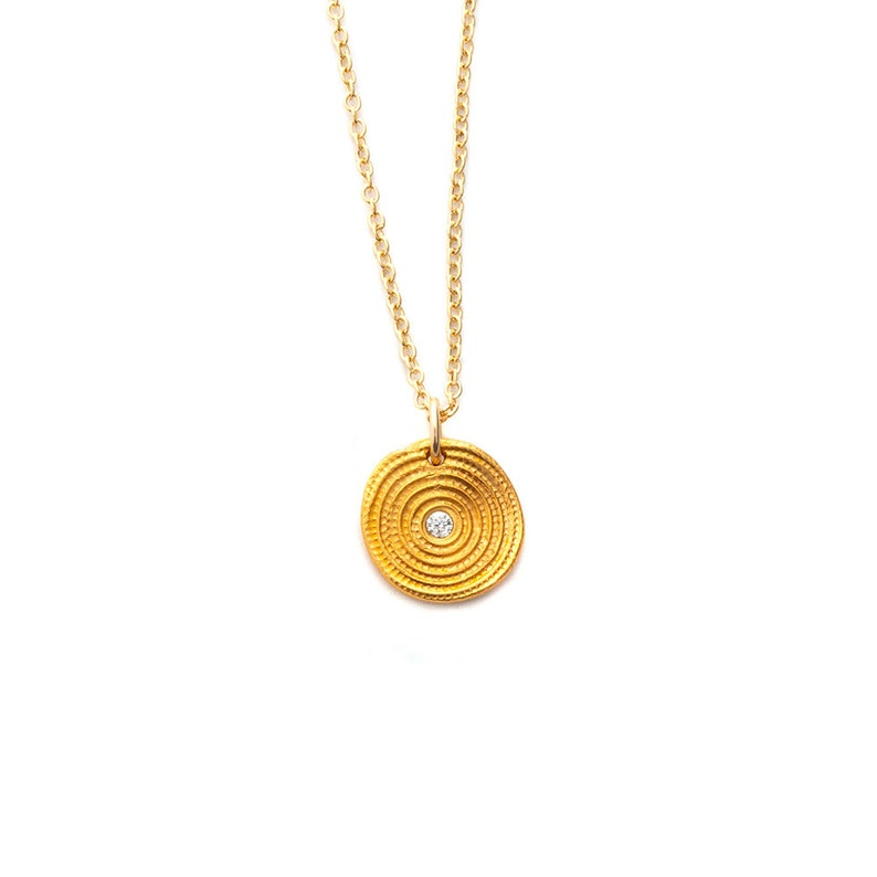 Zen Circles Gold Charm Necklace Small Pendant Yoga Jewelry image 0