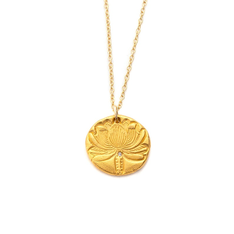 Lotus Flower Charm Necklace in Gold Lotus Blossom Yoga image 0