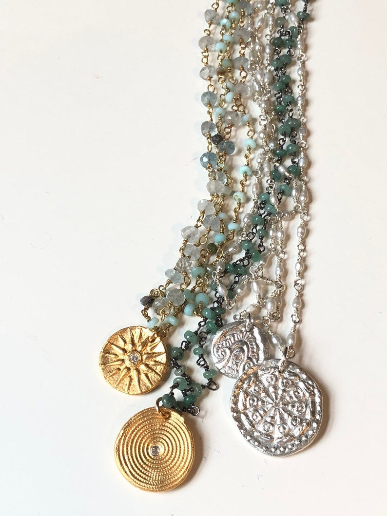 Blues Greens Pearls Summer Necklaces Dainty Handmade image 0