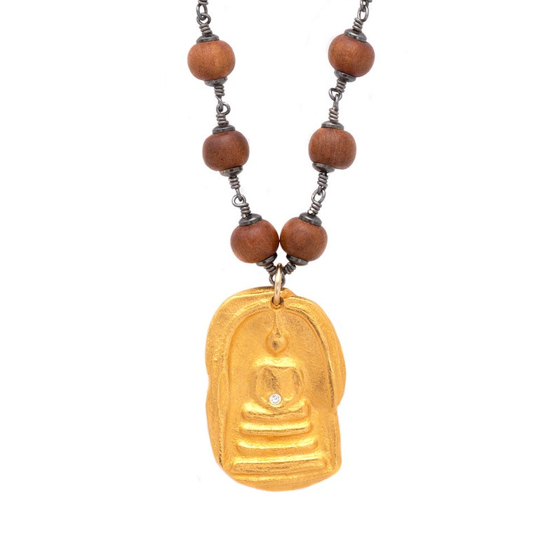Gold Organic Buddha Charm Necklace Handmade Friendship Gift image 0