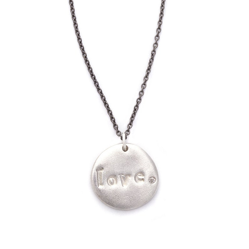 Love Word Charm Necklace in Silver or Gold Custom Word image 0