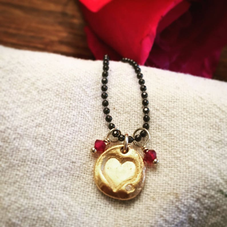 Heart Necklace in Silver or Gold Valentine's Day Sweet image 0