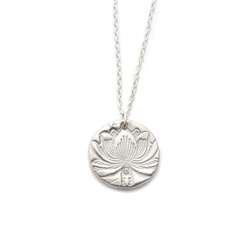 Lotus Flower Charm Necklace in Silver Namaste Yogi Gift image 0