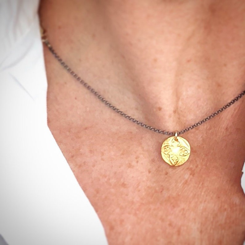 Gold or Silver Flower Design Necklace  Abstract Organic image 0