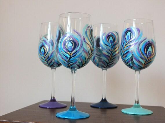 Peacock Wine Glasses Set Of 4 Etsy
