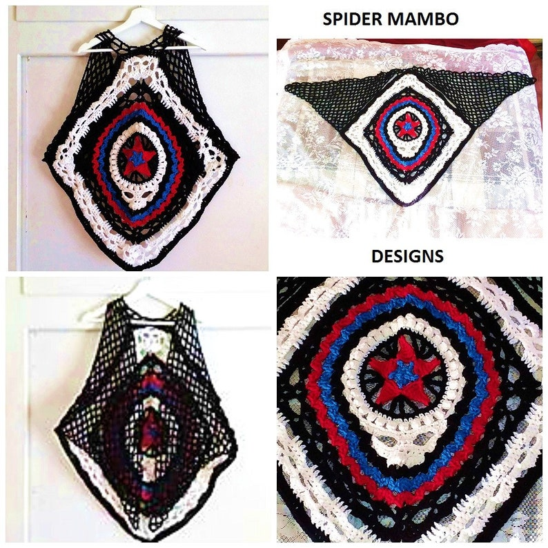 f625a12f6 PDF RIP Skull Triangle Scarf Vest or shawl Crochet Pattern