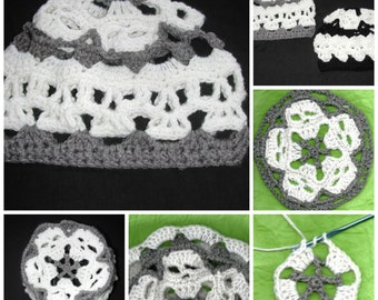 PDF  Creepy Skulls Mandala Skull Hat Pattern  With option to line Sizes Youth to Adult Large