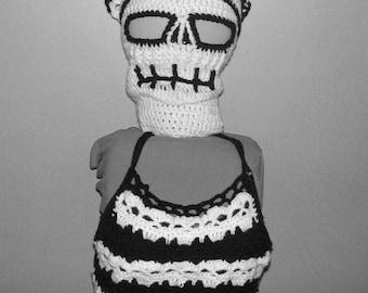 PDF  Crochet Pattern Kreepy Skulls Kerchief  and Crop Top