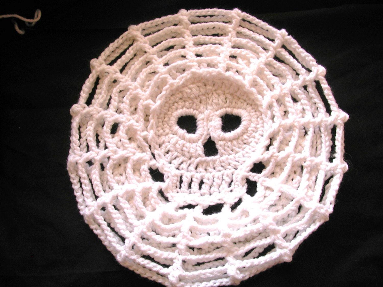 Pdf Crochet Pattern Web Skull Slouch Hat Etsy