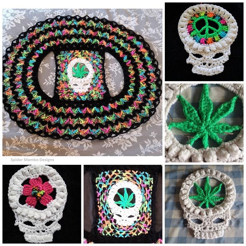 3790df233 PD 420 Skull Circle Vest With 3 Options Pot Leaf Flower or