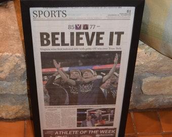 FREE SHIPPING  University of Virginia framed original newspaper 2019 NCAA Basketball Champions Believe It