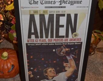 FREE SHIPPING  Rare New Orleans Saints Custom framed solid cedar original newspaper Super Bowl XLIV champions deep profile