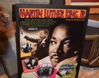 FREE SHIPPING Martin Luther King custom framed print solid rustic cedar dark finish wall hanging display deep profile
