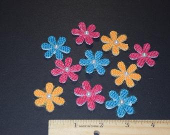 FREE SHIPPING 30 burlap daisy flower scrapbook craft embellishments 3 dimensional summer colors