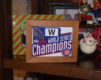 FREE SHIPPING Chicago Cubs 2016 World Series Champions custom cedar framed display decal deep profile desk buddy