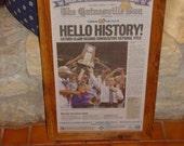 FREE SHIPPING Rare University of Florida custom framed solid cedar original newspaper 2007 NCAA champions